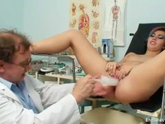 Speculum in the pussy with a light following videos