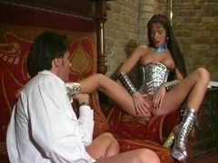 Shiny girl in space lingerie fondled clip