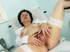 Mature granny in glasses masturbates movies at lingerie-mania.com