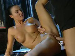 Naughty dark haired beauty gets fucked in the office clip