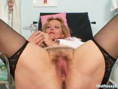 Hairy mature box is hot in close up movies at lingerie-mania.com