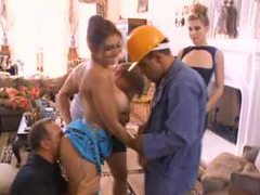 Two hot girls on their knees suck construction workers movies at kilotop.com