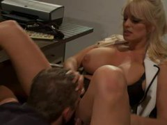 Busty office blonde fucks younger man movies at sgirls.net