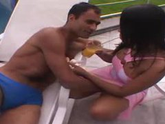 Pretty girl in pink dress fools around outdoors videos