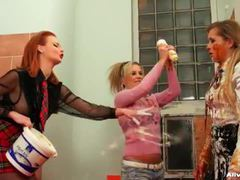 Chocolate sauce and whipped cream mess movies at kilogirls.com