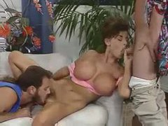 Fake tits 80s babe boned in threesome video videos