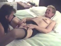 Amateur granny eaten out by young brunette tubes