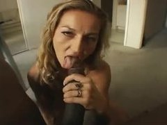 Milf down on her knees blowing big black cock videos
