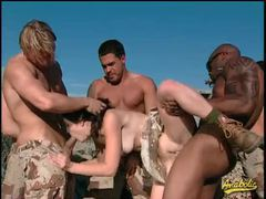 Military men gangbang kristina black in the desert videos
