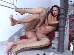 Glamorous girl in sexy boots boned videos