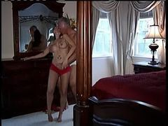 Milf in sexy red lace panties turns him on videos