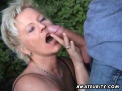 Mature amateur wife sucks and fucks outdoor with facial cumshot movies at lingerie-mania.com