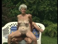 Hairy bush granny fucked in the grass videos