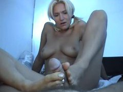 Slim chick in pigtails gives pov footjob movies at sgirls.net