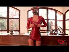 Kinky in tight red latex dress and hood movies