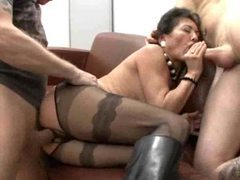 Crotchless pantyhose milf in boots fucked by two guys movies at freekiloclips.com