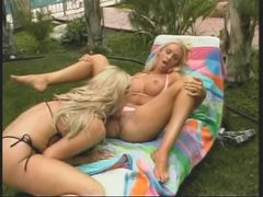 Bimbo bitches in bikinis eat pussy and nips outdoors videos