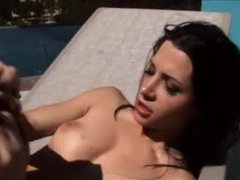 Pretty girl on the pool deck suck and fuck videos