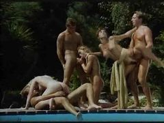 Sexy retro orgy poolside is hot stuff movies at freekilomovies.com