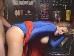 Supergirl costume on blonde milf taking dick videos