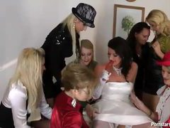 A bride and her sexy dressed friends get naughty videos