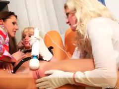 Lesbian threesome with all kinds of toys at play videos