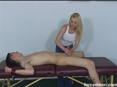 Bound dude gets a rough handjob videos