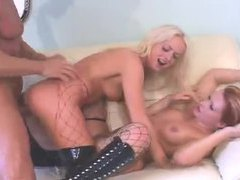 Bitches in latex boots fucked in threesome videos