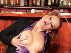 Hottie in a purple satin blouse pissed on movies