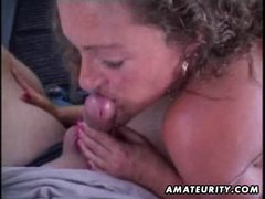 Mature amateur wife sucks and fucks in a car with facial cumshot videos