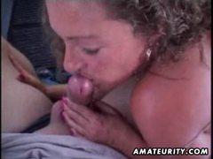 Mature amateur wife sucks and fucks in a car with facial cumshot movies at kilosex.com