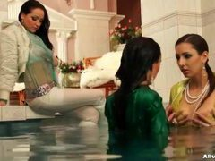 Fully clothed women take a dip in the pool movies at find-best-lesbians.com