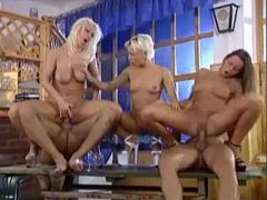 Pissing and fucking in a crazy hot fivesome videos