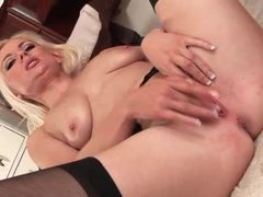Cute blonde with natural tits fingers her pussy videos