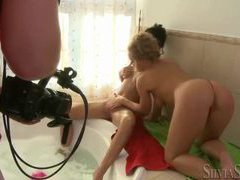 Bathroom pussy eating fun with babes movies at find-best-babes.com