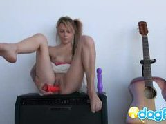 Tatttoed emo teen laney playing with her dildos tubes