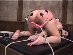 Lesdom bondage and pain with electro shock movies at freekilomovies.com