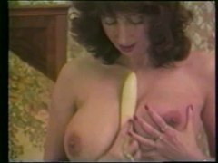 Retro busty girl plays with her dildo movies at freekilomovies.com