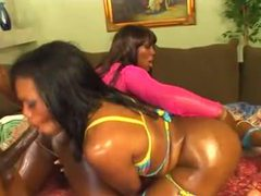 Oiled up sexy black chicks look hot as hell in threesome movies at sgirls.net