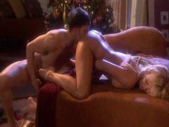 Erotic sex with a beautiful blonde on christmas videos