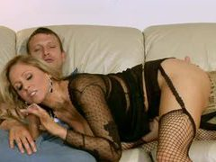 Young man with a big cock seduced by hot milf videos