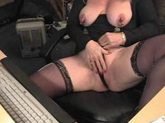 Mature webcam show with clamps on nips movies at lingerie-mania.com