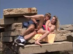 Sex outdoors on a pile of rocks videos