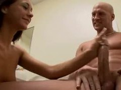 Skinny girl strokes a big cock in the bathroom videos