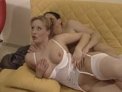 German girl in curvy white lingerie has a dp videos