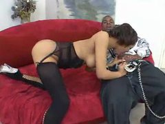 Yummy black slut in lingerie sucks on a cock movies at kilosex.com