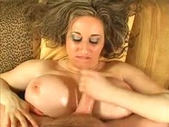 Fat girl with lubed up tits pleasures him videos