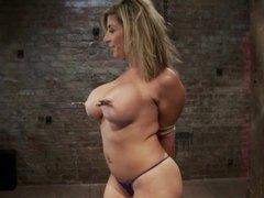 Sara jay in a tit bondage video movies at lingerie-mania.com