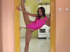Insanely flexible amateur in pink swimsuit bones toy videos