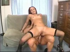 Redhead in fishnets fucked in the bum movies